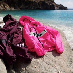 victoria's secret pink hot pink rain jacket